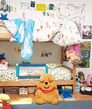 Children's messy bedroom