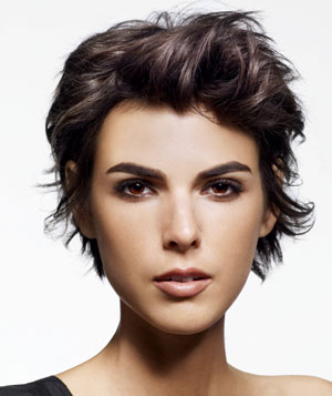 Model With Styled Short Brown Hair
