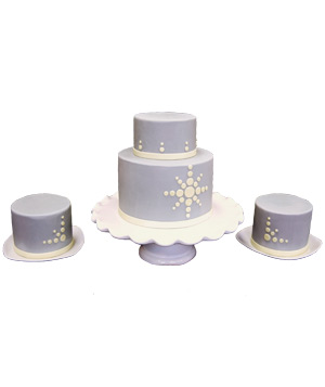 Pink Cake Box graphite fondant-covered trio wedding cake