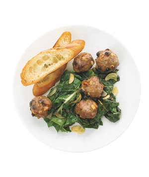 Meatballs With Sauteed Chard