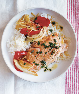 Roasted Salmon and Peppers With Caper Vinaigrette