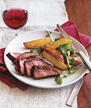 Steak With Roasted Potatoes and Arugula