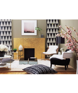 Black and white decor in a living room
