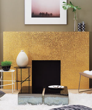 Gold fireplace