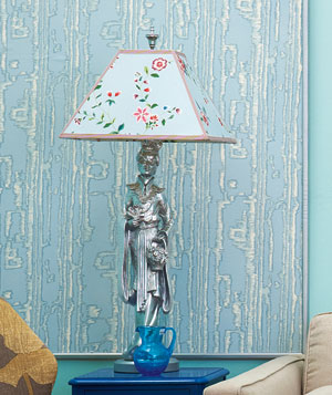 Silver lamp with floral lamp shade