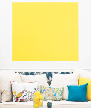 Yellow painted square in living room