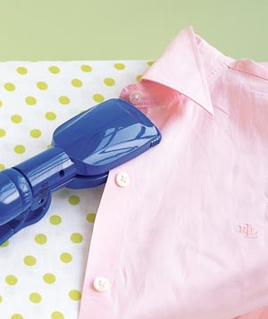 Straightening iron and dress shirt