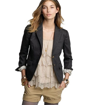 J. Crew Heather Carbon Schoolboy Blazer