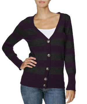 Michael Stars Cashmere Blend Long Sleeve Stripe Cardigan
