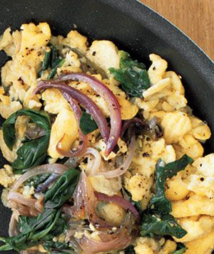 Eggs With Red Onion and Spinach