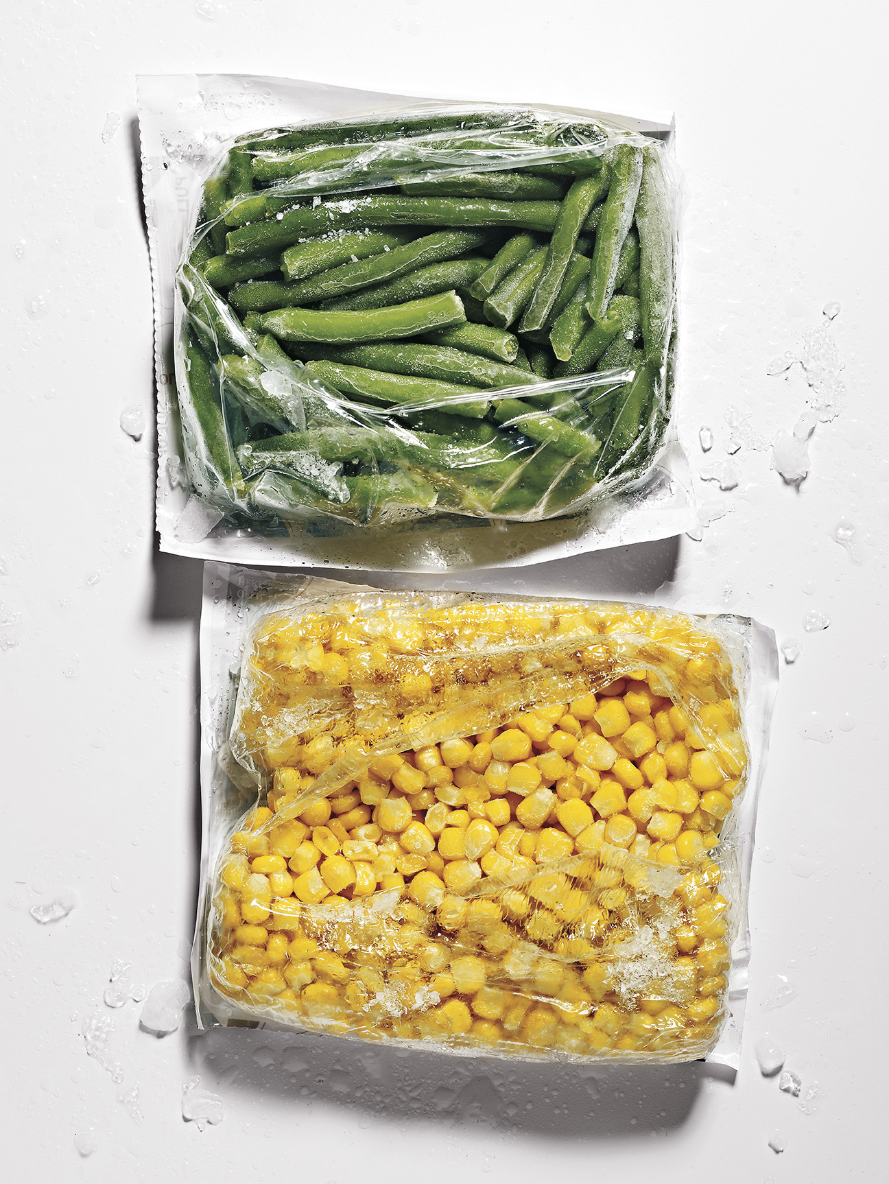 Frozen green beans and corn
