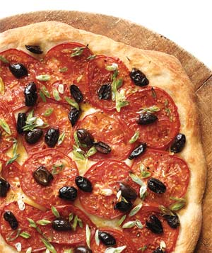 Tomato, Olive, and Scallion Pizza