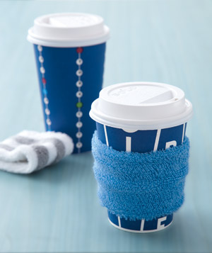 Wristband around a paper coffee cup