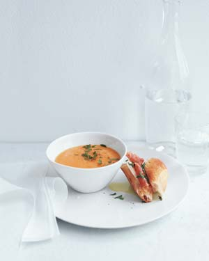 Cantaloupe Soup With Prosciutto and Mozzarella Sandwiches