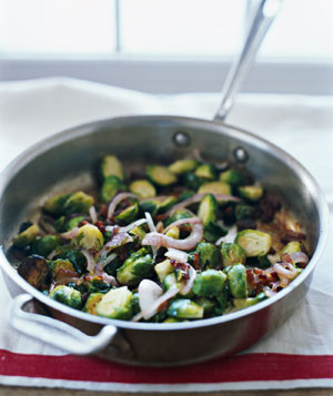 Sautéed Brussels Sprouts with Bacon and Golden Raisins