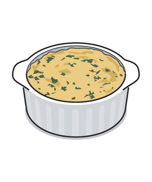Illustration of a bowl of spinach-artichoke dip