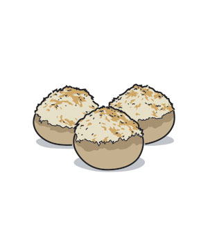 Illustration of stuffed mushrooms