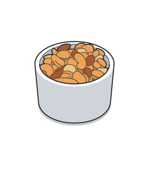 Illustration of a bowl of mixed nuts