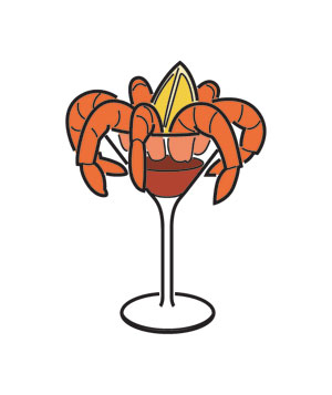 Illustration of shrimp cocktail