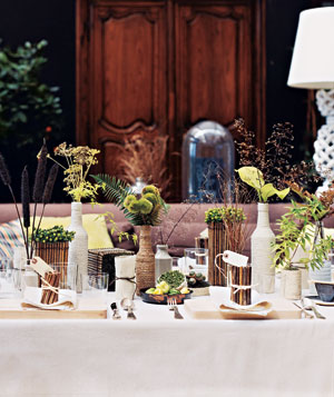 Table decorated with natural items