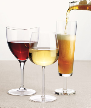 Glasses of red wine, white wine, and beer