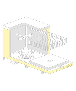 Illustration of the inside of a dishwasher