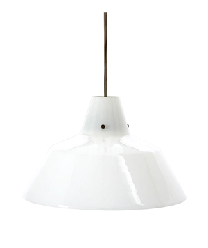 Industrial Milk Glass Pendant