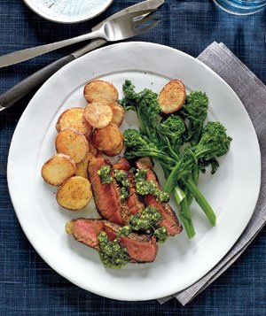Steak With Crispy Potatoes and Pistachio Pesto