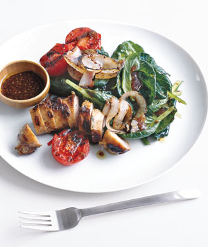 Warm Spinach Salad With Grilled Sausage