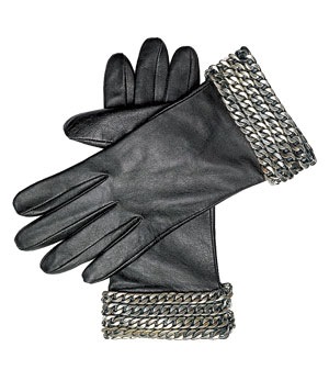 Kenneth Cole leather gloves with chain cuffs