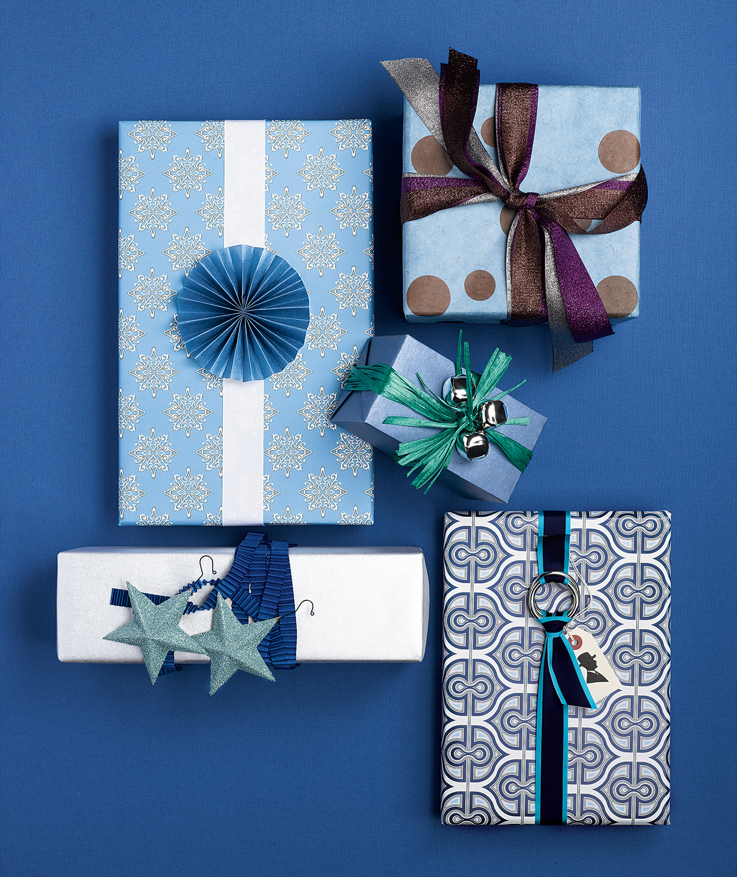 Wrapped gifts in blue