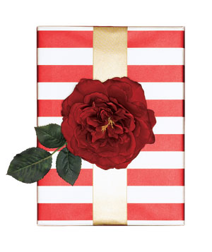 Gift wrapped in striped paper with a velvet flower