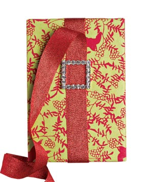 Gift wrapped in red and green paper