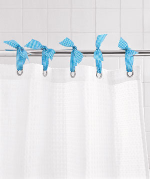 Ribbon as Shower Curtain Ring
