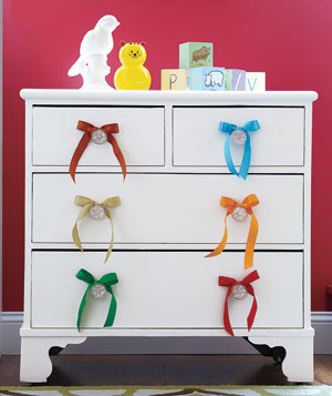 Ribbons on dresser knobs