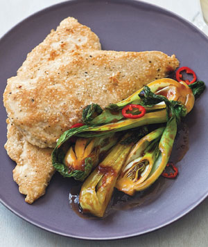 Sesame Chicken With Gingery Bok Choy