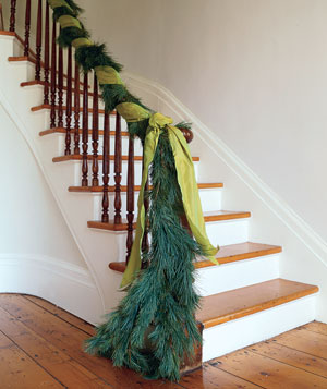 Garland on a banister