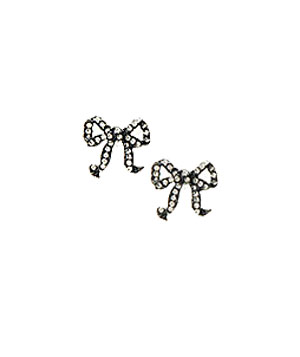 Rhinestone Bow Studs by Betsey Johnson