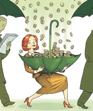Illustration of woman catching raining money in her umbrella