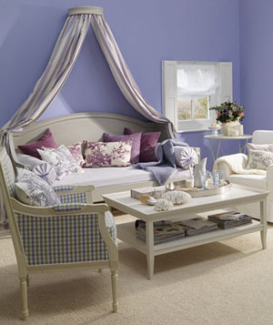Light Purple living room with soft textiles