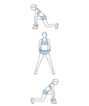 Illustration of lunge, lift, and turn exercise