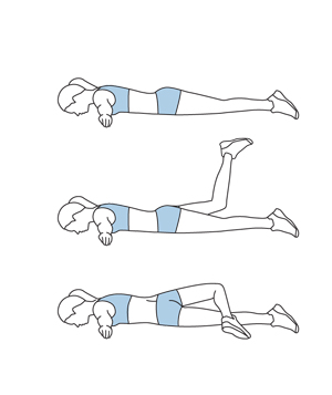 Illustration of scorpion stretch exercise
