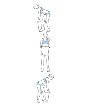 Illustration of twist, squat, and lift exercise
