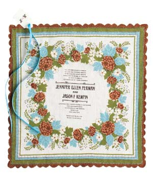 Bird & Banner vintage hankerchief wedding invitation