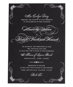 Ceci NY white script on a black wedding invitation