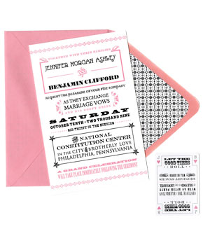 2 Paper Dolls pink and black wedding invitation