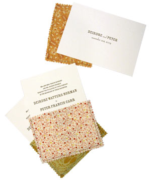 Bird & Banner wedding invitation with hand-stitched fabric envelope