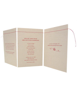 Bird & Banner red string wedding invitation