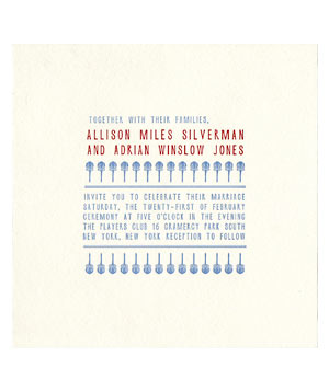 Mr. Boddington red and blue wedding invitation