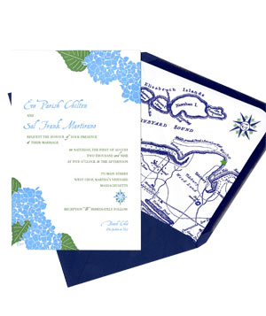 Ceci NY wedding invitation with Hydrangeas
